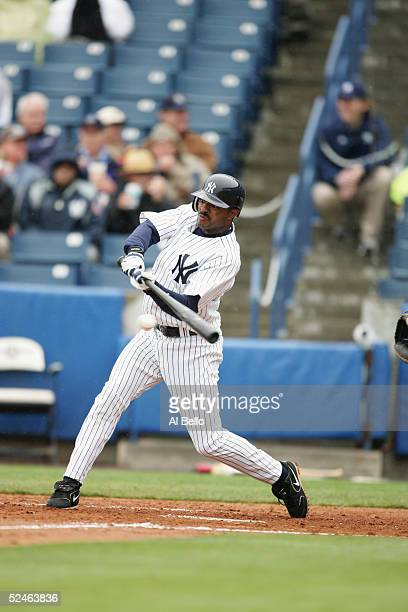 Infielder Tony Womack of the New York Yankees swings at a Pittsburgh Pirates pitch during their Pre Season opening game on March 3, 2005 at Legends...