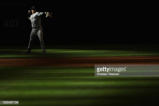 Infielder Trevor Story of the Colorado Rockies warms up before the MLB game against the Arizona Diamondbacks at Chase Field on July 21 2018 in...