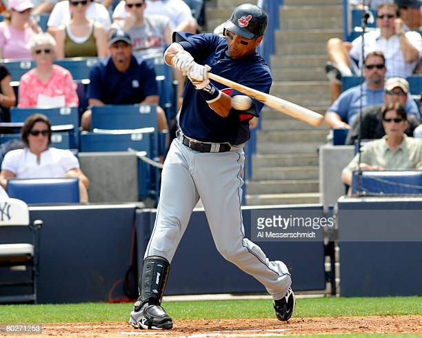 Infielder Victor Martinez of the Cleveland Indians bats against the New York Yankees March 16 2008 at Legends Field in Tampa Florida The Yankees won...