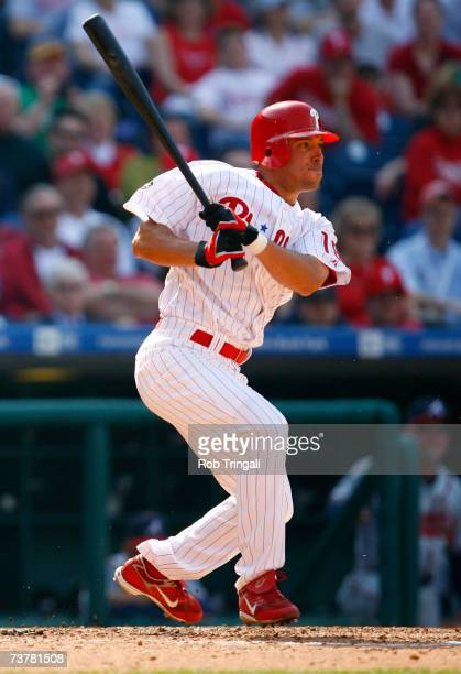 Infielder Wes Helms of the Philadelphia Phillies bats against the Atlanta Braves during a Opening Day game on April 2 2007 at Citizens Bank Park in...