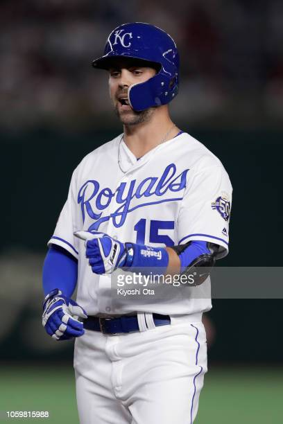 Infielder Whit Merrifield of the Kansas City Royals celebrates after hitting a single in the bottom of 8th inning during the game two of the Japan...