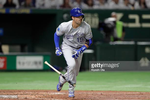 Infielder Whit Merrifield of the Kansas City Royals hits a single in the top of 6th inning during the game three of Japan and MLB All Stars at Tokyo...