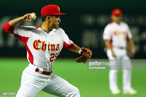 Infielder Xu An of China in action during the World Baseball Classic First Round Group A game between China and Brazil at Fukuoka Yahoo Japan Dome on...