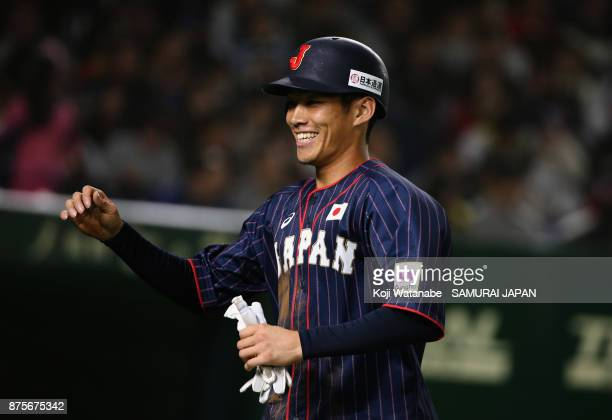 Infielder Yota Kyoda of Japan celebrates after hitting a tworun single in the top of fifth inning during the Eneos Asia Professional Baseball...