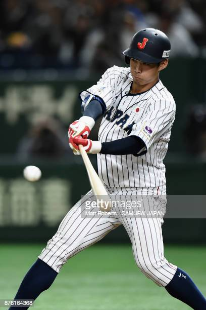 Infielder Yota Kyoda of Japan drives out in the bottom of fourth inning during the Eneos Asia Professional Baseball Championship 2017 final game...