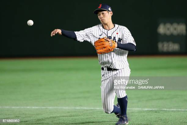 Infielder Yota Kyoda of Japan fields in the top of third inning during the Eneos Asia Professional Baseball Championship 2017 game between Japan and...