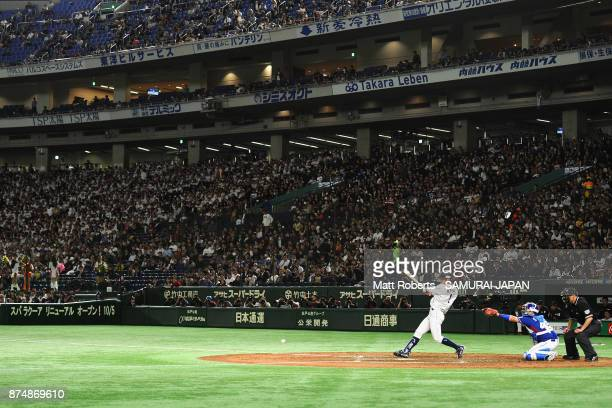 Infielder Yota Kyoda of Japan grounds out in the bottom of third inning during the Eneos Asia Professional Baseball Championship 2017 game between...