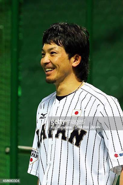 Infielders Nobuhiro Matsuda of Samurai Japan during a training session at Fukuoka Yahuoku Dome on November 9 2014 in Fukuoka Japan