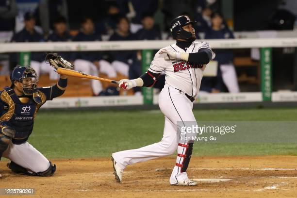 Infilder Fernandez Jose of Doosan Bears bats in the bottom of the the fourth inning during the KBO League game between NC Dinos and Doosan Bears at...