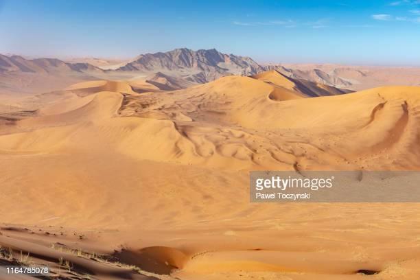 infinite desert landscapes in sossusvlei, namibia, 2018 - kalahari desert fotografías e imágenes de stock