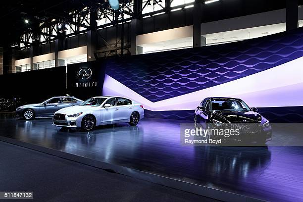 Infiniti cars are on display at the 108th Annual Chicago Auto Show at McCormick Place in Chicago Illinois on February 11 2016