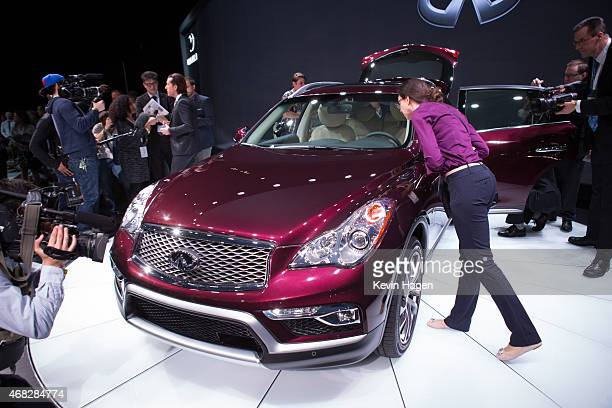 Infiniti introduces the new QX50 model at the New York International Auto Show at the Javits Center on April 1 2015 in New York City The auto show...