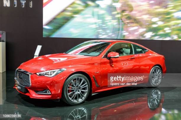 Infiniti Q60 30T Red Sport 400 AWD luxury sports coupe on display at Brussels Expo on January 13 2017 in Brussels Belgium The Infiniti Q60 is...