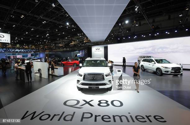Infiniti QX80 is seen during Dubai Motor Show at Dubai World Trade Centre on November 15 2017 in Dubai United Arab Emirates