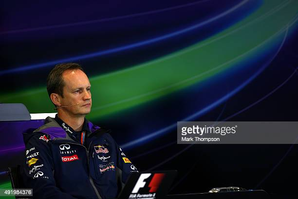 Infiniti Red Bull Racing Head of Car Engineering Paul Monaghan attends a press conference after practice for the Formula One Grand Prix of Russia at...
