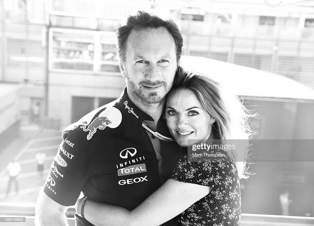 Infiniti Red Bull Racing Team Principal Christian Horner and Geri Halliwell pose after the F1 Grand Prix of Italy at Autodromo di Monza on September 7, 2014 in Monza, Italy.