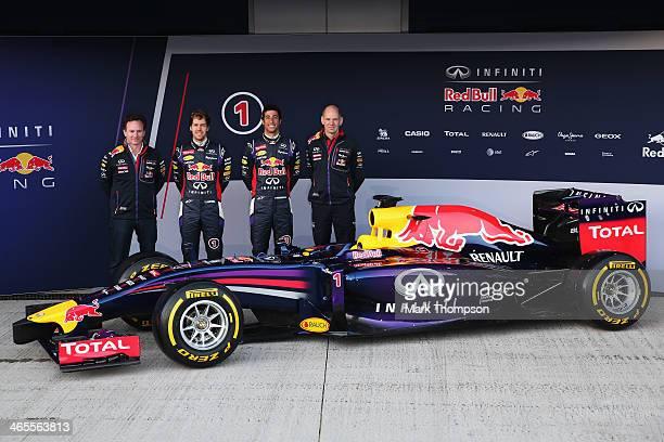 Infiniti Red Bull Racing Team Principal Christian Horner drivers Sebastian Vettel of Germany Daniel Ricciardo of Australia and Infiniti Red Bull...