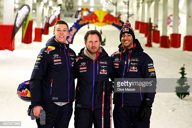 Infiniti Red Bull Racing Team Principal Christian Horner poses with Daniel Ricciardo of Australia and Infiniti Red Bull Racing and Daniil Kvyat of...