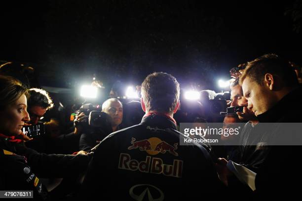 Infiniti Red Bull Racing Team Principal Christian Horner talks to the media after his driver, Daniel Ricciardo who finished second, was excluded from...