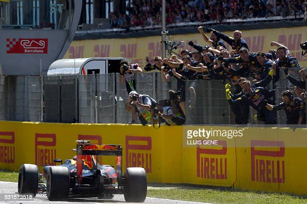 Infiniti Red Bull's BelgianDutch driver Max Verstappen wins at the Circuit de Catalunya on May 15 2016 in Montmelo on the outskirts of Barcelona...