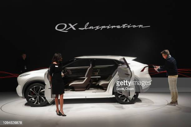 Infiniti shows off their allelectric QX Inspiration concept at the North American International Auto Show at the Cobo Center on January 15 2019 in...
