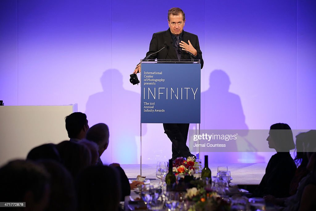 Infinity Award winner fashion photographer Mario Testino speaks onstage at the International Center of Photography 31st annual Infinity Awards at Pier Sixty at Chelsea Piers on April 30, 2015 in New York City.