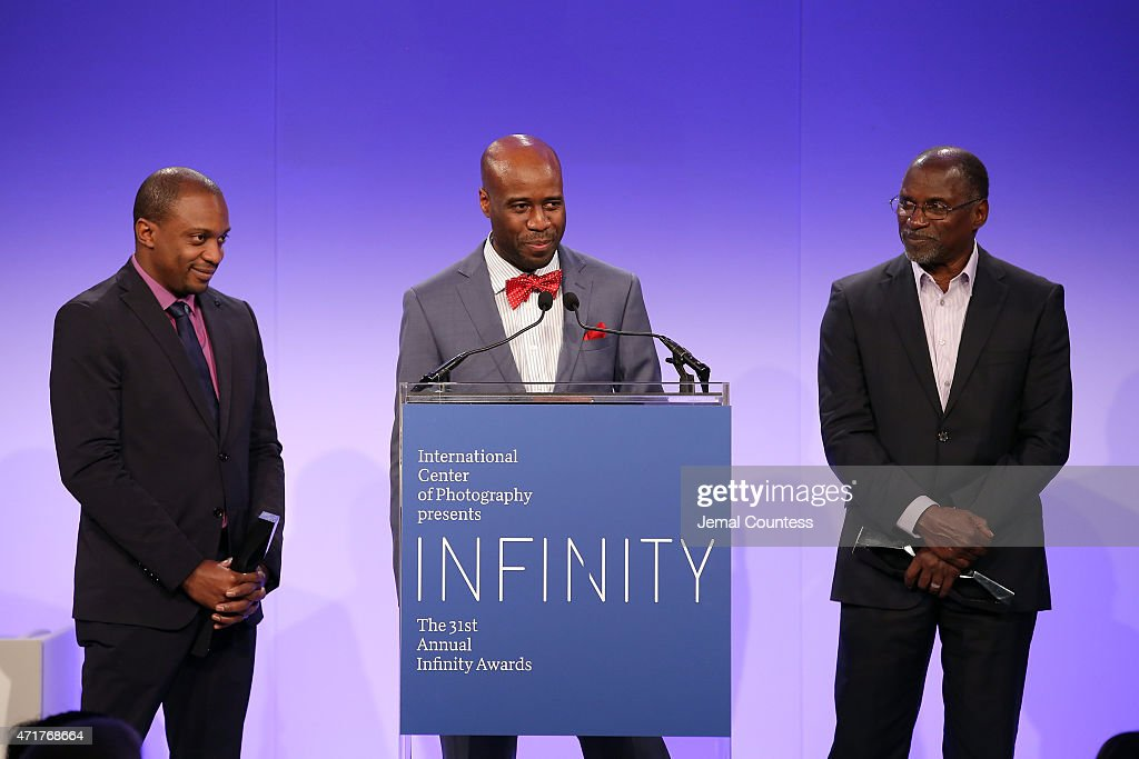 Infinity Award winners artists Hank Willis Thomas, Bayete Ross Smith and Chris Johnson speak onstage at the International Center of Photography 31st annual Infinity Awards at Pier Sixty at Chelsea Piers on April 30, 2015 in New York City.