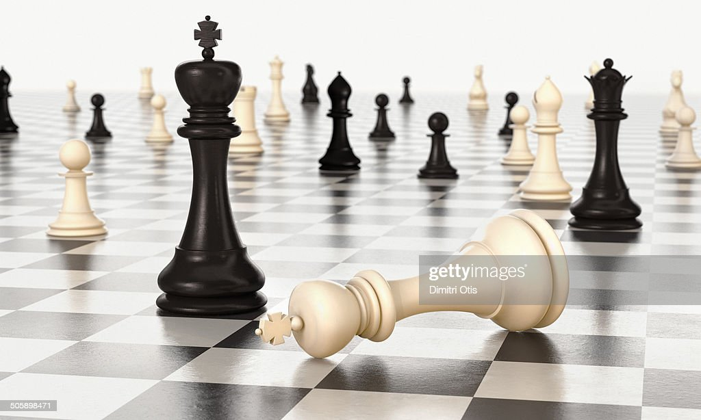 Infinity chess board, white king lying down : Stock Photo