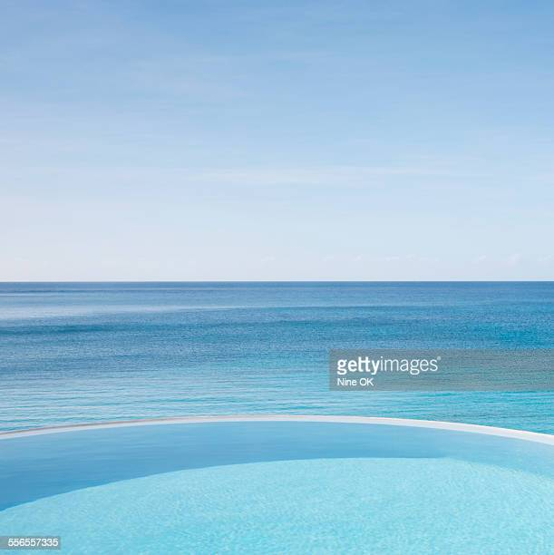 Infinity pool and Caribbean Sea