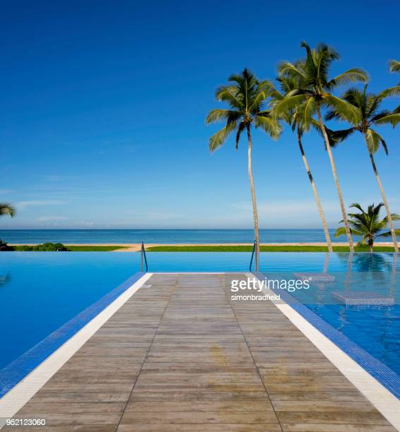 infinity pool in paradise - infinity pool stock pictures, royalty-free photos & images