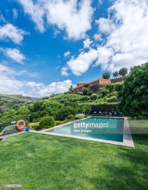 infinity pool in rural hillside - traditionally portuguese stock pictures, royalty-free photos & images