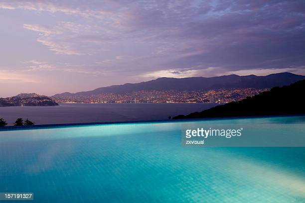 infinity pool view in acapulco mexico - acapulco stock pictures, royalty-free photos & images