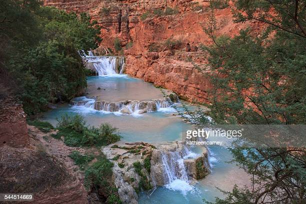 infinity pools and waterfalls, havasu creek, arizona, america, usa - havasu creek stock photos and pictures
