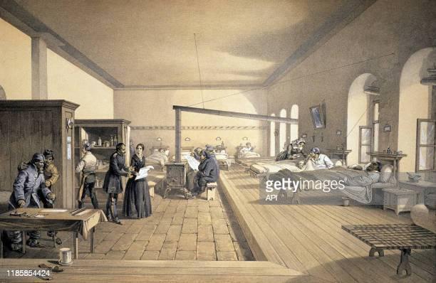 L'infirmière britannique Florence Nightingale à l'hôpital de Scutari en 1856 pendant la guerre de Crimée à Istanbul dans l'Empire Ottoman