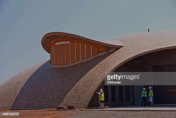 inflatable building at spaceport america in new mexico - spaceport america stock pictures, royalty-free photos & images