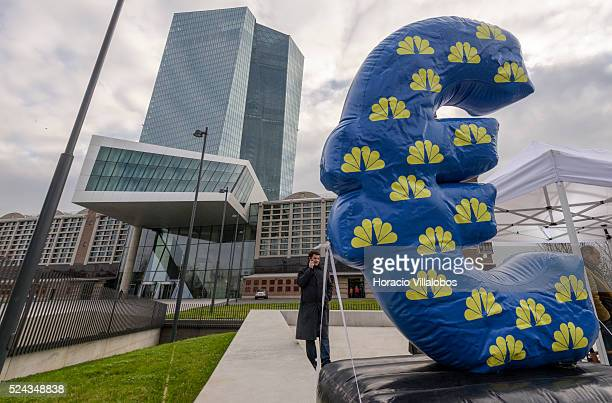 CNBC inflatable euro symbol outside ECB during ECB president Mario Draghi's press conference in the European Central Bank Headquarters in Frankfurt...