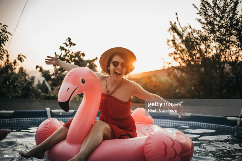 Inflatable flamingo : Stock Photo