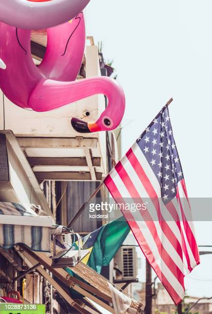 Inflatable pink flamingo and American flag