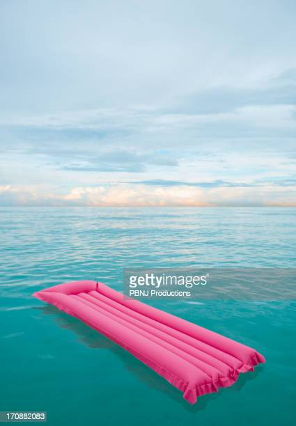 Inflatable raft floating in tropical water