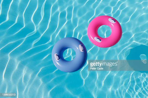 inflatable rings in pool
