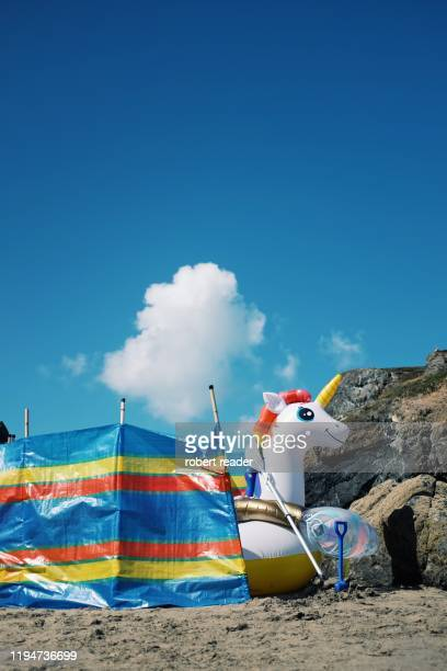 inflatable unicorn - quebra ventos imagens e fotografias de stock