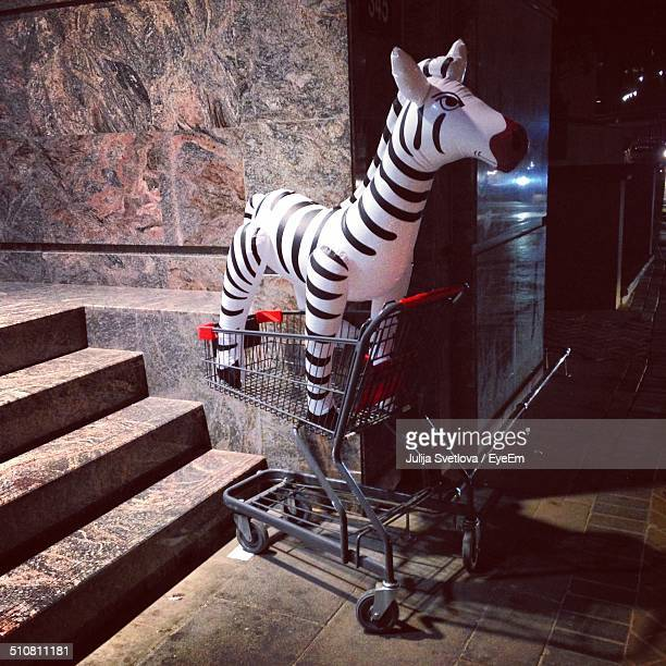 Inflatable zebra in shopping cart