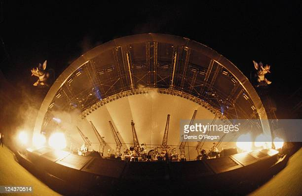 Inflatables rise over the stage at a concert on Pink Floyd's Division Bell Tour 1994 This was the final tour by the band