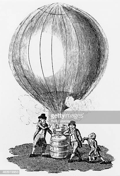 Inflation of Charles and the Robert brothers' hydrogen balloon, 1783 . Jean and Noel Robert helping Jacques Charles to inflate the balloon with...