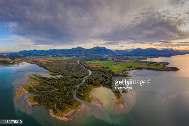 inflow to lake chiemsee, tiroler ache - inflow stock photos and pictures