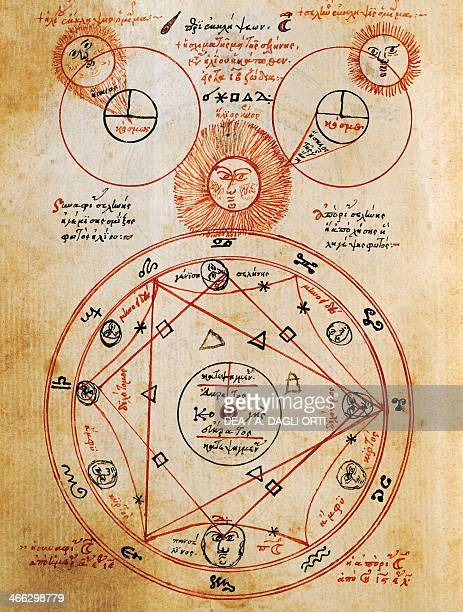 Influence of the sun moon and stars on reading the signs of the Kabbalah miniature from a Kabbalistic treatise Greek manuscript 16th century