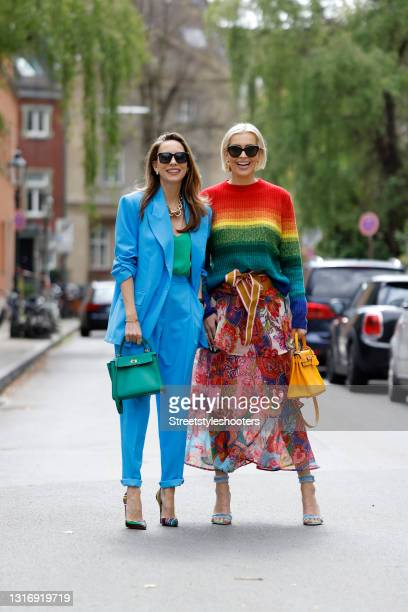 Influencer Alexandra Lapp, wearing a blue suit by Aggi, a green Jadicted silk top, multicolored So Kate heels by Christian Louboutin, a green Hermes...