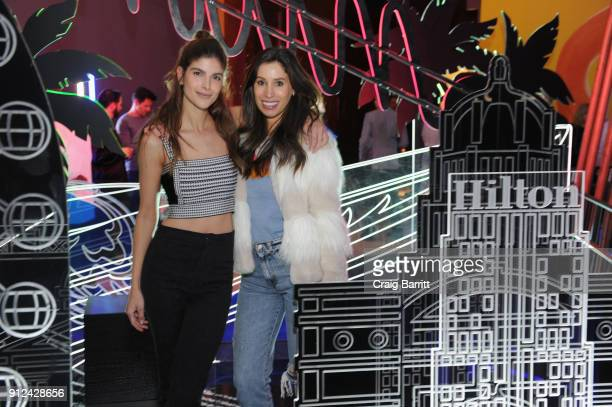 Influencer Aly Weisman and guest enjoy a unique experience at the Hilton and American Express event at the Conrad New York on January 30 2018 in New...