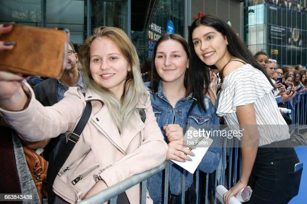 Influencer and youtubestar Ana Lisa Kohler with fans during the 'Die Schluempfe Das verlorene Dorf' premiere at Sony Centre on April 2 2017 in Berlin...