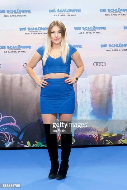 Influencer and youtubestar Bianca Heinicke alias Bibi during the 'Die Schluempfe Das verlorene Dorf' premiere at Sony Centre on April 2 2017 in...